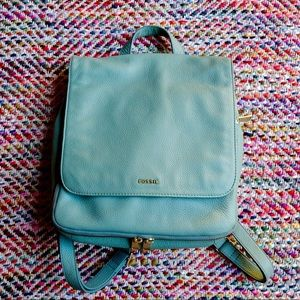 Fossil Preston Leather Backpack in Mint